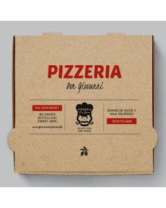 Speziale Pizzakarton Braun Personalisierbar