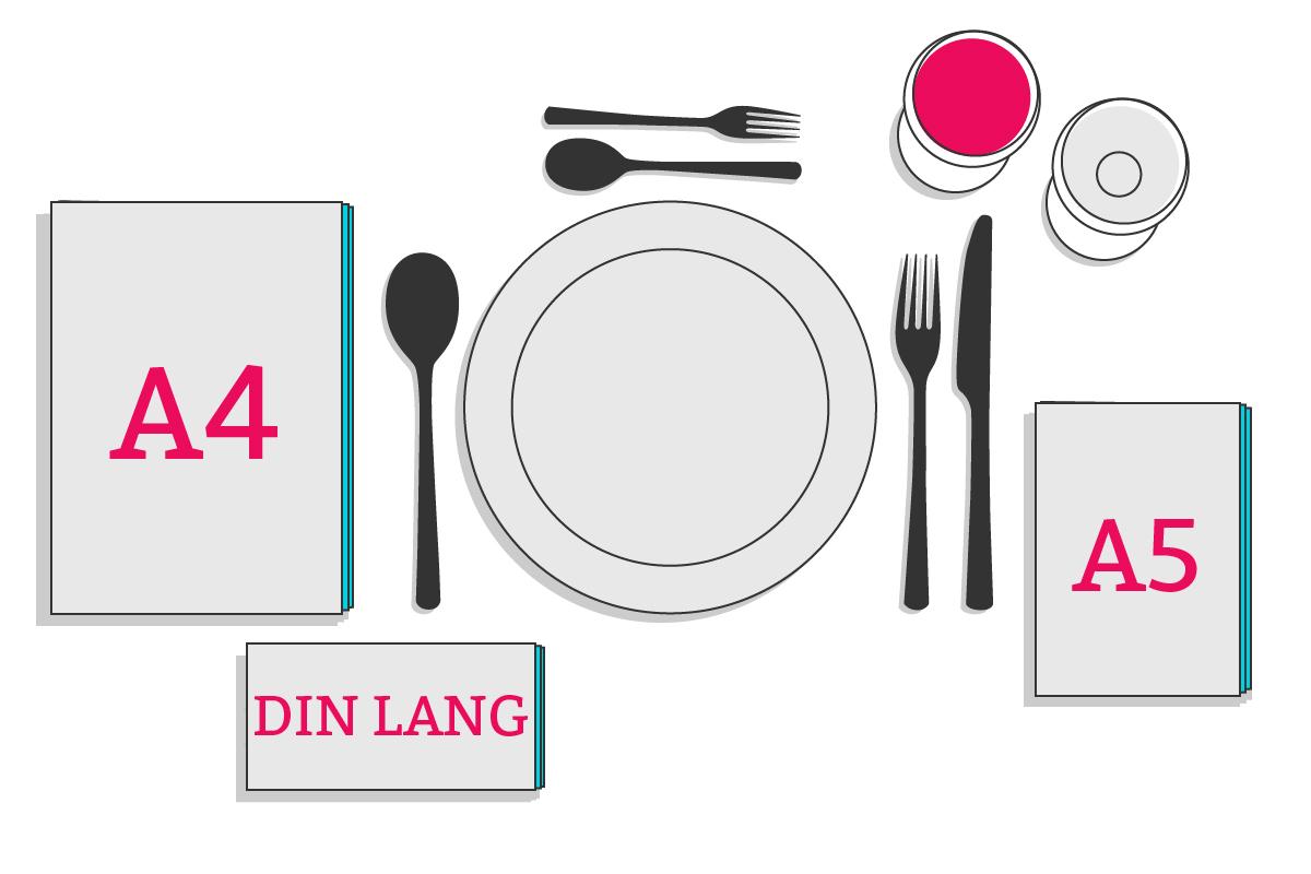 Speisekarten in verschiedenen Formaten