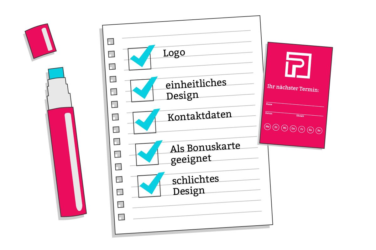 Checkliste Terminkarten gestalten