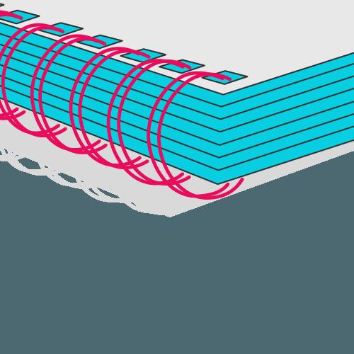 Broschüre mit Wire-O-Bindung